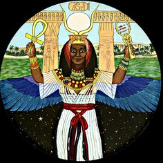 Auset  Isis of 10,000 names  the Nubian great goddess:    Mother of the Gods,  Giver of Life,   Maker of the Sunrise,   Great Enchantress.     As the star Sirius, her rising with the sun   signals a new year and the fertilizing floodtide   of the Nile. So Auset was also praised as   Opener of the Year,   Creatrix of the Nile Inundation,   Lady of Abundance,   Lady of Green Crops and of Bread.
