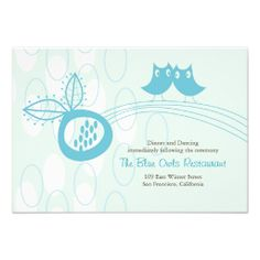 Whimsical Blue Owls In Love Wedding Reception Card Personalized Invite