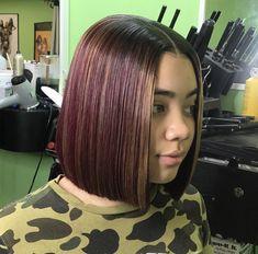 Burgundy Short Blunt Cut Bob Burgundy Hair, Blue Hair, Blunt Bob, Blunt Cuts, Pixie Styles, Hair Styles, Sew In Hairstyles, J Cole