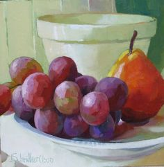 Bowl with Grapes and Pear by Joanna Olson