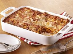 Classic lasagna requires no pre-cooking -  noodles become tender as they bake. #Recipe
