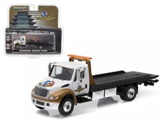 2016 International Durastar 4400 IMS Wheel, Wings, and Flag Flatbed Tow Truck White and Gold 1/64 Diecast Model by Greenlight - Brand new 1:64 scale car model of 2016 International Durastar 4400 IMS Wheel, Wings, and Flag Flatbed Tow Truck White and Gold die cast car model by Greenlight. Limited Edition. Detailed Interior, Exterior. Metal Body. Comes in a blister pack. Officially Licensed Product. Dimensions Approximately L-5.5 Inches Long.-Weight: 1. Height: 5. Width: 9. Box Weight: 1. Box…