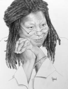 Whoopi Goldberg, Portrait Drawings from your photos by Greg Hand Pencil Portrait Drawing, Portrait Art, Pencil Art, Pencil Drawings, Drawing Portraits, Celebrity Drawings, Celebrity Portraits, Celebrity Caricatures, Famous Black Artists