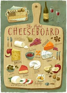 Art And Illustration, Food Illustrations, Recipe Drawing, Poster Art, Arte Sketchbook, Food Drawing, Cheese Drawing, Cheese Platters, Kitchen Art