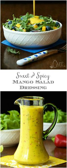Sweet and Spicy Mango Salad Dressing. - So delicious, super easy and this dressing is the anecdote for boring salads and it's fabulous drizzled over pan-seared or grilled salmon, shrimp or chicken! Mango Dressing, Sauce Pesto, Sauces, Mango Salat, Salad Dressing Recipes, Salad Dressing Healthy, Salmon Salad Dressing, Grilled Salmon, Grilled Fish