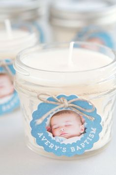Baptism Favor Candles - Easy DIY handmade favors that you can make for your baptism party. Includes tags, labels, twine and candles. Baptism Boy Favors, Girl Baptism Party, Baptism Party Decorations, Baptism Themes, Baby Boy Christening, Baptism Candle, Baptism Ideas, Balloon Decorations, Christening Favors