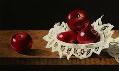 Battenburg Lace with Red Apples and More., painting by artist Jacqueline Gnott Apple Art, Red Apple, Plum Fruit, High Quality Wallpapers, Painting Inspiration, Apples, Watercolor, Fine Art, Lace