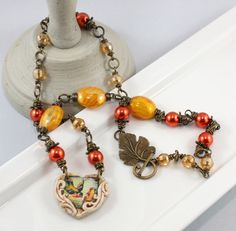 Yellow Bird Polymer Clay Heart Necklace with Czech by downtownglam, $63.00