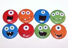 Monster Faces 1 Inch Pin Back Buttons 1 by DistinctDesignsUnltd, $4.00
