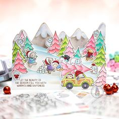 mama elephant | design blog: Guest Designer Series with Michelle, Ali, Jennifer, Asuka and Mimi Gnome Images, Snowman Images, Holiday Messages, Holiday Cards, Classic Christmas Movies, Mama Elephant Stamps, Interactive Cards, Shaped Cards, Elephant Design