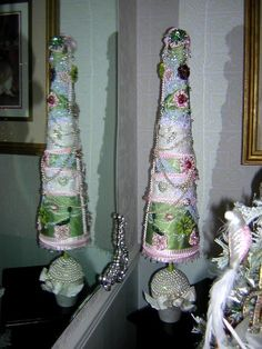"""33"""" Potted Green  and Pink Satin Collage Christmas Tree  with Vintage and Swarovski Jewelry"""