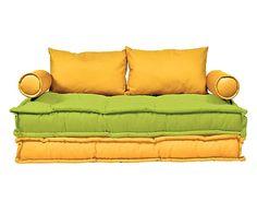 Divano Futon 2 posti in cotone Malibu' giallo banana/verde acido, 140x85x75 cm