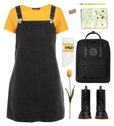 """Untitled #4"" by endlessangst ❤ liked on Polyvore featuring Boohoo, Topshop, Joshua's, Dr. Martens, Fjällräven, Moleskine, Tourne, PopsOfYellow and NYFWYellow"