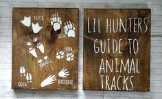 Lil Hunters Guide to Animal Tracks Rustic Wood Set, Hunting Nursery Decor, Rustic Nursery Decor, Kids Bedroom Decor, Woodland Nursery Decor by RusticLuvDecor on Etsy…More Baby Boy Rooms, Baby Boy Nurseries, Baby Room, Rustic Nursery Decor, Rustic Decor, Rustic Wood, Bedroom Decor, Bedroom Ideas, Woodland Bedroom