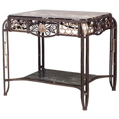 French Art Deco Rectangular Steel and Marble Center Table  | From a unique collection of antique and modern center tables at http://www.1stdibs.com/furniture/tables/center-tables/