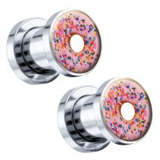 Sprinkle Donut Steel Screw-On Artisan Plugs 6G - 1 (25mm) - Pair