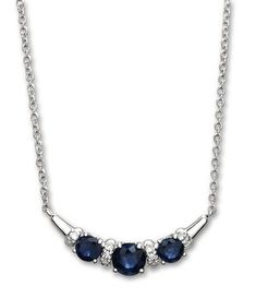 * Made in 14 karat white gold * Set with three round cut, natural, blue Sapphires carat total) with accent Diamonds * The pendant measures approximately wide * Comes attached on an adjustable cable chain Diamond Bar Necklace, Sapphire Necklace, Sapphire Diamond, Blue Sapphire, Jewelry Ideas, White Gold, Necklaces, Jewels, Chain
