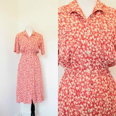 Vintage Orange Red Floral Print Dress// Vintage Shirt Dress// Size Medium Large…