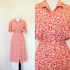 Vintage Orange Red Floral Print Dress// Vintage Shirt Dress// Size Medium Large…
