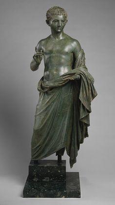 Portrait statue of a boy, Late 1st century B.C.–early 1st century A.D.; Julio-Claudian  Roman  Bronze