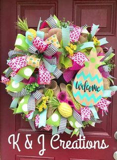 Welcome Pineapple Wreath, Pineapple Decor, Summer Decor, Spring Wreath, Year Round Wreath, Everyday