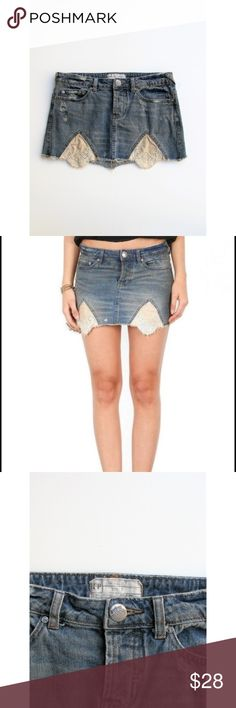 Free People Tire Swing Cut-off Distressed Mini 2 Free People Tire Swing Cut-off Distressed Denim Skirt Featuring Eyelet Panels, Button Fly, 5 Pocket Styling, Cut-off Hem  Size - 2 Waist -14.5 Hips - 17 Length - 12 at its longest point Style - Denim Skirt Fabric - 100 Cotton Color - Med Blue Wash Pattern - Distressing Code - 180108375 Condition - Nearly New - Film Set Wardrobe - Worn On Set Only MSRP - $98 Free People Skirts Mini