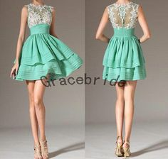 mint cotton dress with white lace homecoming dresses elegant round neck prom dress short bridesmaid gowns charming custom party dress hot on Etsy, $128.00