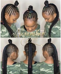 All styles of box braids to sublimate her hair afro On long box braids, everything is allowed! For fans of all kinds of buns, Afro braids in XXL bun bun work as well as the low glamorous bun Zoe Kravitz. Little Girl Braid Styles, Little Girl Braids, Black Girl Braids, Braids For Black Hair, Girls Braids, Mohawk Braids For Kids, Braided Mohawk Black Hair, Braids For Black Kids, Kid Braids