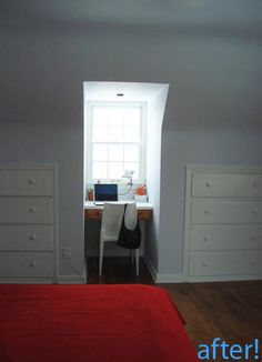 Bedroom--dormer desk and built ins