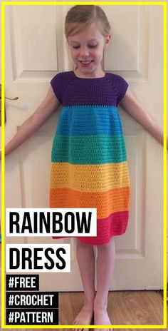 crochet Rainbow Dress free pattern - easy crochet dress pattern for beginners Best Picture For baby Crochet Baby Dress Free Pattern, Crochet Toddler Dress, Girls Knitted Dress, Toddler Dress Patterns, Crochet Dress Girl, Pattern Dress, Skirt Patterns, Coat Patterns, Blouse Patterns