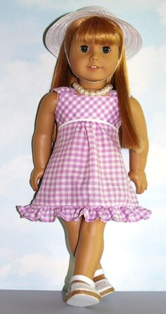 American Girl/18 Doll Purple Gingham Sleeveless by SewLikeBetty