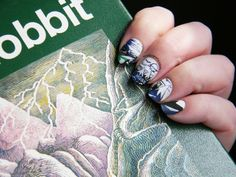 The Hobbit Nails Hobbit Book, The Hobbit, Nail Polish Designs, Nail Designs, Book Nail Art, Earth Craft, The Beauty Department, Fandom Fashion, Acrylic Art