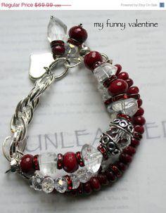 red chunky bracelet, statement bracelet, chunky chain bracelet, multi strand bracelet.....My Funny Valentine. $55.99, via Etsy.