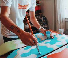 Hand painted skateboards by Aaron Kai Painted Skateboard, Skateboard Deck Art, Skateboard Design, Longboard Design, Skate Art, Cool Deck, Cool Skateboards, Skate Decks, Ultimate Frisbee