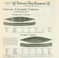 Selling Custom Canoes in 1881 through Mail Order Catalogue - and selling #StripeSpotting Canoes Today In-Store.