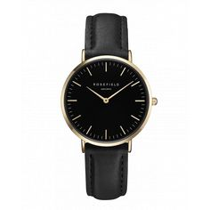 Black - Gold women's watch - black leather strap | Tribeca | Rosefield Watches