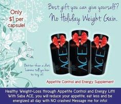 Today is a great day to begin your week with ACE. Lose weight and gain more energy. Get your ACE on and shed those unwanted pounds that crept up on you this winter. 30 day money back guaranteed on your first bottle. Or I have $20.00 Starter kits..What else to you have to lose, besides those unwanted pounds? Get yours today. vao1960@hotmail.com PM me or text me. 563-543-9741