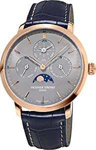 Frederique Constant Slimline Mens Automatic Wrist Watch Analog 42 mm Round Grey Dial with Sapphire Crystal and Blue Leather Band 30m Water Resistant Business Genuine Luxury Watches - for Men Teen Watches, Luxury Watches For Men, Rose Gold Plates, Chronograph, Sapphire, Band, Crystals, Leather, Accessories
