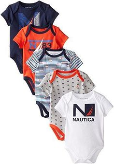Nautica Baby-Boys Newborn 5 Pack Americana Style Bodysuit Assorted 0-3 Months