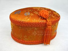 HANDMADE COSMETIC BAG/ JEWELRY BOX ORANGE | chinese embroidery tutorial