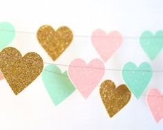 Hearts Garland, Glitter Paper Garland, Gold, Blush and Mint, Pink and Green, Bridal Shower, Baby Shower, Party Decorations, Birthday Decor #GlitterPaper
