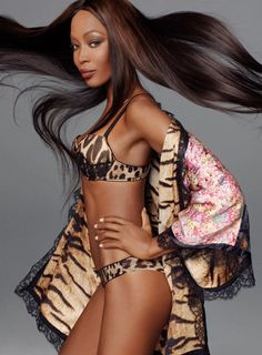480dbe7ae5369 Naomi Campbell is back with the supermodels in leopard-print underwear for  Robert Cavalli spring campaign