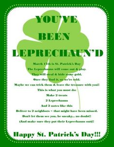 """You've been leprechaun'd"" #printable for St. Patrick's Day. #kids #family"