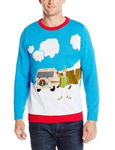 Alex Stevens Men's Motor Home Holiday Ugly Christmas Sweater, Blue Combo, Large