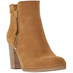 Dune Black Phollie Block Heeled Suede Ankle Boots (€155) ❤ liked on Polyvore featuring shoes, boots, ankle booties, tan, tan booties, high heel booties, suede booties, block heel boots and tan ankle boots