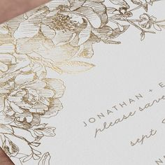 """""""Engraved Flowers"""" - Foil-pressed Save The Date Cards in Latte by Phrosne Ras. Foil Wedding Invitations, Save The Date Invitations, Wedding Stationary, Save The Date Cards, Bridal Shower Invitations, Wedding Rsvp, Floral Wedding, Floral Save The Dates, Reception Card"""