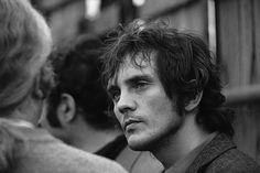 British actor Terence Stamp — too cool to crack a smile, even at a concert.  Isle of Wight Festival, August 1969.
