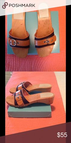 Coach Sandals Coach vintage sandals.  Wooden sole, navy with leather trim and buckle.  2 inch heel. Coach Shoes Sandals