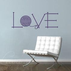 Knit Love Vinyl Wall Decal Sticker will brighten up any wall in your home. This knitting needles and yarn wall decal is perfect for your favorite knitting space. Modern Wall Decals, Vinyl Wall Decals, Knitting Room, Knitting Needles, Yarn Storage, Love Wall, Just Dream, Wall Decor Stickers, Yarn Shop