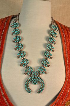 Vintage 70s Navajo Silver Turquoise Old Pawn Squash Blossom Native American Necklace Zuni Cluster Style on Etsy, $1,200.00